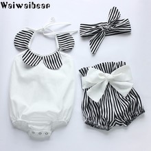 Waiwaibear Summer New Baby Suits Newborn Clothes Sleeveless Rompers + Pants +Headwear 3PCS Infant Clothing Sets WX10