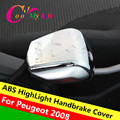 ABS Chrome Handbrake Protection Sequins Hand Brake Trim Stickers Case for 2014 2015 2016 Peugeot 2008 Accessories