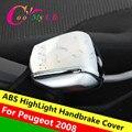 ABS Chrome Recortar Lentejuelas de Protección Del Freno de mano del Freno de Mano Pegatinas Carcasas para 2014 2015 2016 Peugeot 2008 Accesorios