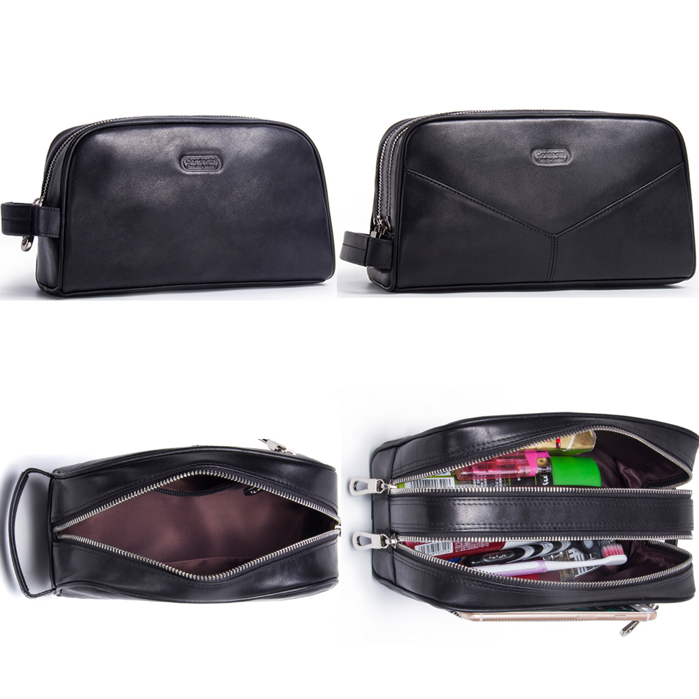 Image 5 - CONTACT'S genuine leather cosmetic bag for men vintage crazy horse leather man make up bags small travel bags male toiletry bag-in Cosmetic Bags & Cases from Luggage & Bags