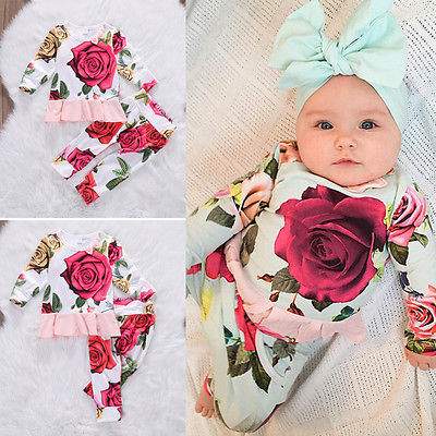 Kids Newborn Infant Baby Girl Gifts Clothes Floral long sleeve Tops Shirt+Pants Trousers Outfit Set infant baby boy girl 2pcs clothes set kids short sleeve you serious clark letters romper tops car print pants 2pcs outfit set