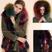 Разноцветная меховая парка с лисьим мехом Mrs, роскошная зимняя одежда, армейская зеленая оболочка с красочным худи лиса, меховая куртка