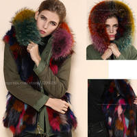 Multicolor Fox Mr Fur Parka,Mrs Luxury Wear In Winter,Army Green Shell With Colofully FOX Hoodies Fur Jacket