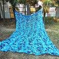 4 M * 10 M Camo Compensação filé azul rede de camuflagem camo lona sol abrigo para decoração e cobriu o decoração do partido do tema do local