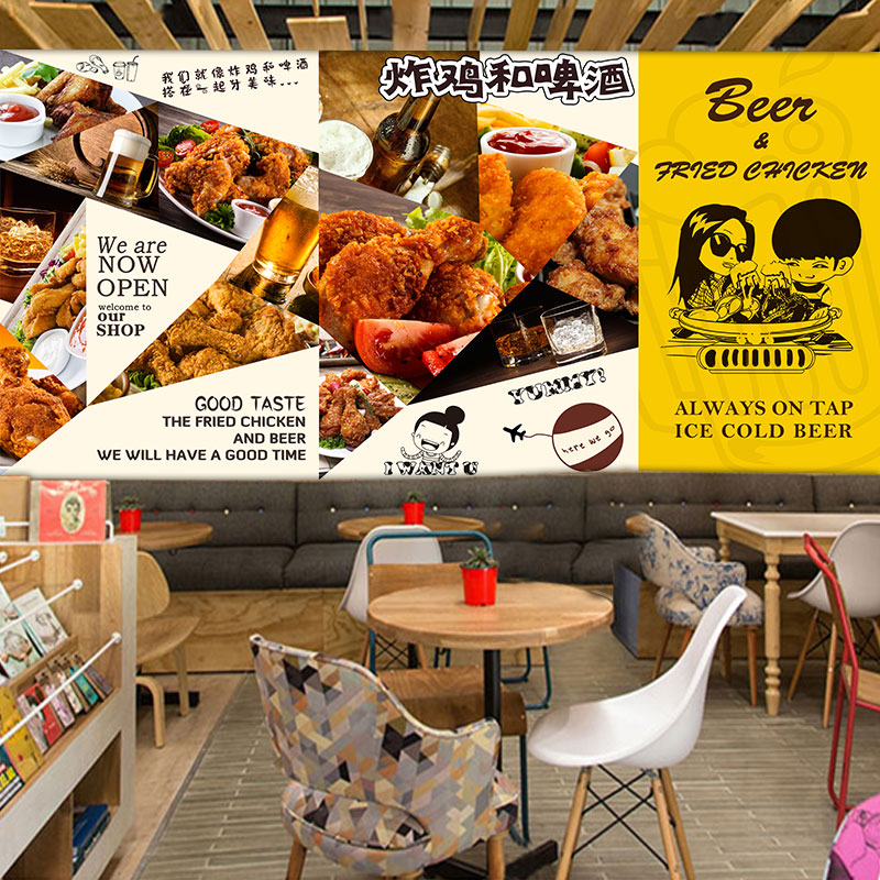 Custom 3d mural 3D custom Fried chicken beer fast-food restaurant Cafe wallpaper cute cartoon dining room background wall mural image