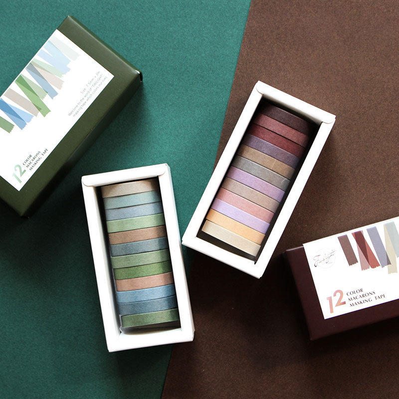 12colors/Box 7.5/15mm Morandi Solid Color Series Washi Tape Diy Decorative Adhesive Masking Tape Sticker Scrapbooking Stationery