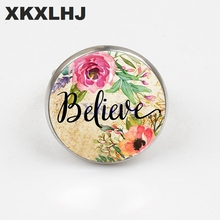 XKXLHJ2018 Retro Believe Letters Printed Glass Dome Bible Men and Women Ring Christian Jewelry Gifts