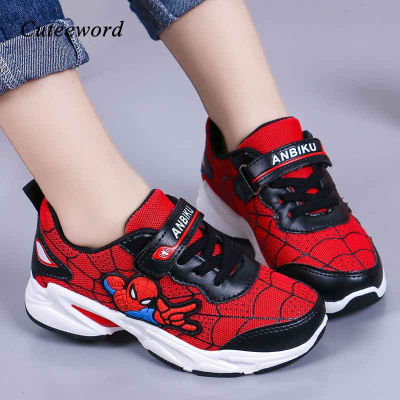 Girls Sneakers Sports-Shoes Spiderman Waterproof Breathable Fashion Casual Children Mesh