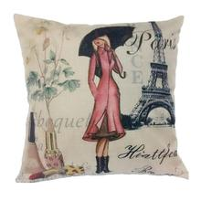 2016 Girl And Tower Linen Square Pillow Case Sofa Waist Throw Cushion Cover Home Decor Coussin Decoration Almofadas travesseiro