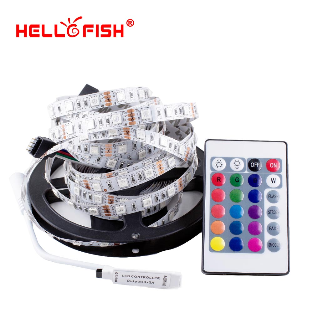 Hello Fish 5M Double Layer PCB 5050 RGB 300 LED Strip and 24 Key RGB Controller Kit Flexible LED Tape and 44 key RGB Controller good group diy kit led display include p8 smd3in1 30pcs led modules 1 pcs rgb led controller 4 pcs led power supply