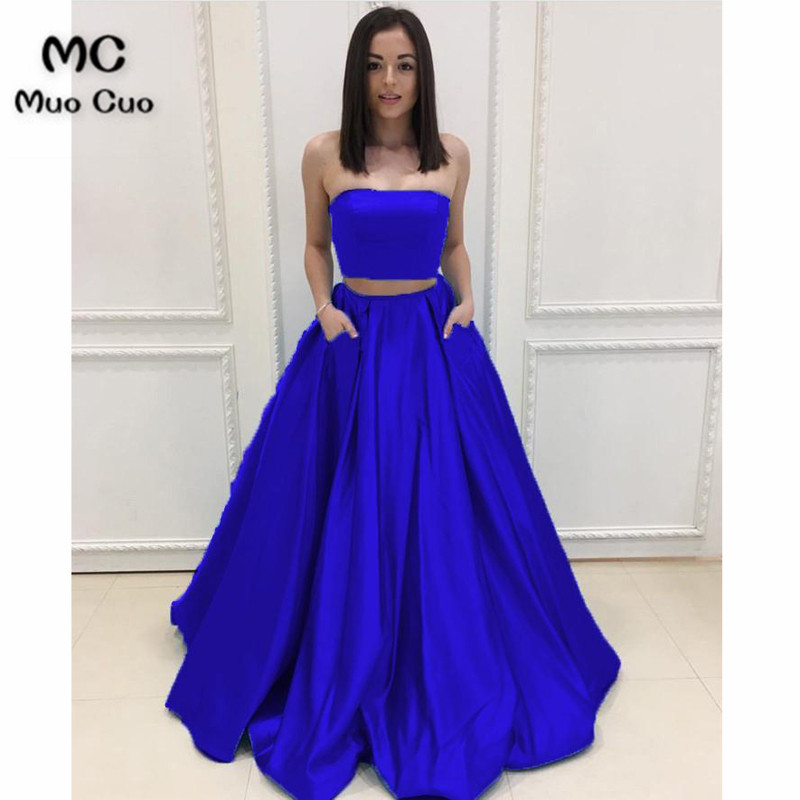 2018 Strapless   Prom     dresses   Long Two Pieces Gown Vestidos de fiesta Satin   dress   for graduation Pockets Evening   Prom     Dresses
