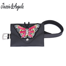Jiessie&Angela Women Small Belt Leather Bags Waist Belt Bag With Big Butterfly Fashion Hand Free Bags Female Pouch Bag