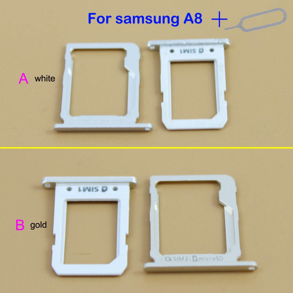 YuXi SIM Card micro SD Tray Slot Holder For Samsung Galaxy A8 white/gold color