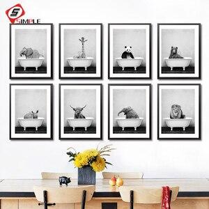 Baby Animal in Bathtub Poster Panda Giraffe Elephant Lion Pig Cow Canvas Painting Nursery Wall Art Nordic Picture Kid Room Decor(China)