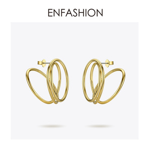 Image 3 - ENFASHION wielowarstwowe koło stadniny kolczyki dla kobiet Punk geometryczny prosta linia kolczyki oświadczenie biżuteria Oorbellen 1032