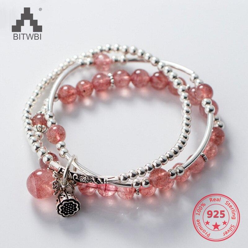 S925 Sterling Silver Hot Sale Sweet Lovely Pink Strawberry Quartz Lucky Bracelets hot 1pcs bracelets