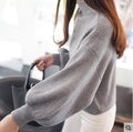 Mujeres del invierno caliente de gran tamaño de cachemira suéter Pull Femme gris de cuello alto sólido suéteres femeninos de punto de manga larga suéter mullido