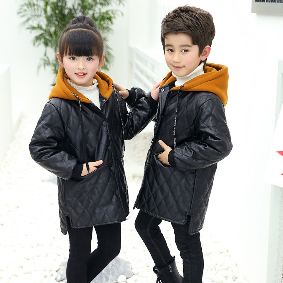 Baby Girl Leather Jacket Kids Girls Coats Spring Fall Children Long Sleeve Coats Girls Casual Black Solid Children Outerwear casual fall style black long sleeve lace up sweatshirt