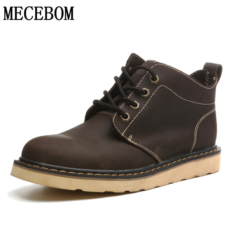 Men boots full genuine leather ankle boots handmade lace-up desert boot unisex casual leather shoes comfort footwear 311m