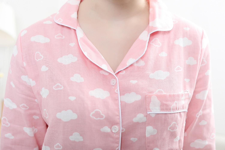 Image 5 - Kawaii pink cloud print pijamas for women pajamas sets 100% gauze cotton cozy long sleeve 2 piece pyjamas mujer fresh sleepwear-in Pajama Sets from Underwear & Sleepwears