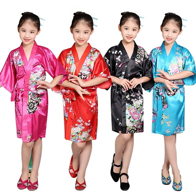 5f961cfb37 Kids Satin Kimono Robe Short Floral Print Bathrobe Japanese Asian  Traditional Top with Sash Nightgown Sleepwear for Children