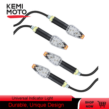 4pcs Universal Motorcycle 12V Turn Signal Indicator Light Lamp Amber Blinker 14 LEDs Black shell transparent E-mark E11
