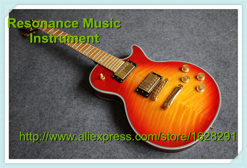 Custom Shop Cherry Sunburst LP Superme Electric Guitars China With Flame Maple Fretboard china custom shop transparant grey finish lp electric guitars with mahogany solid body for sale