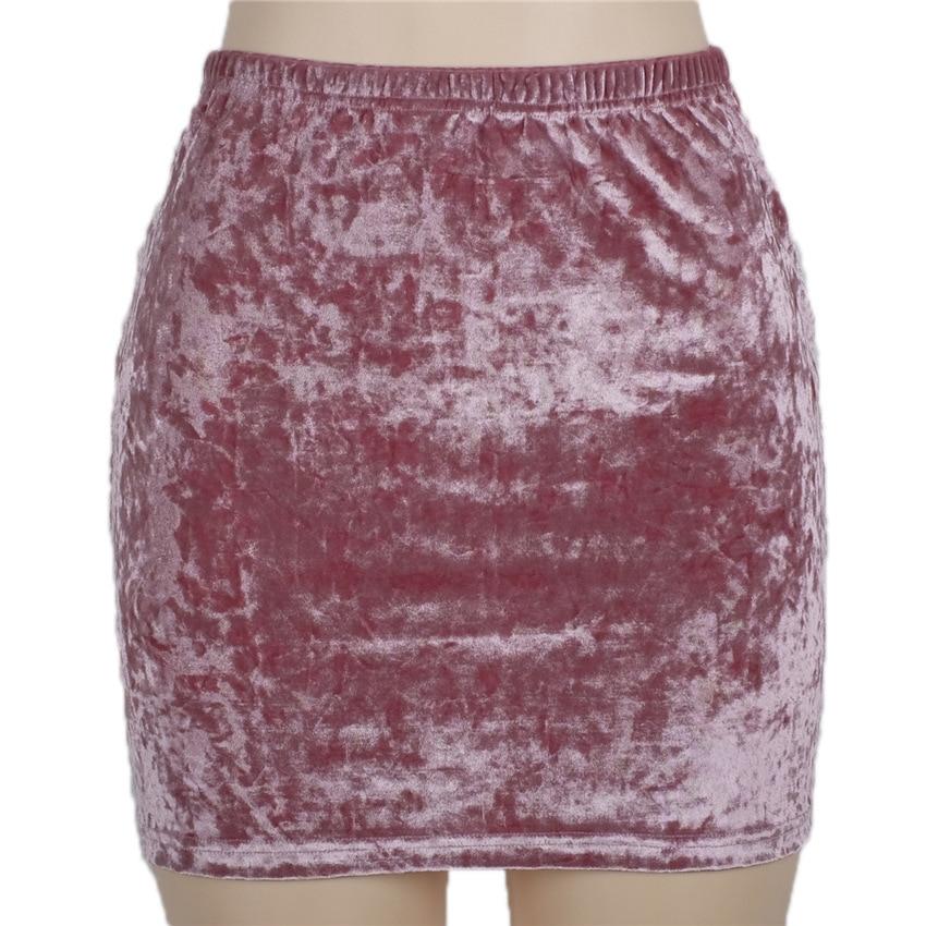 f471f74c0 Mujeres de La Falda de Cintura alta de Terciopelo Negro Sólido Pink ...