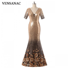 VENSANAC 2018 Vintage V Neck Lace Sequin Mermaid Long Evening Dresses Half Sleeve Party Flowers Embroidery Prom Gowns