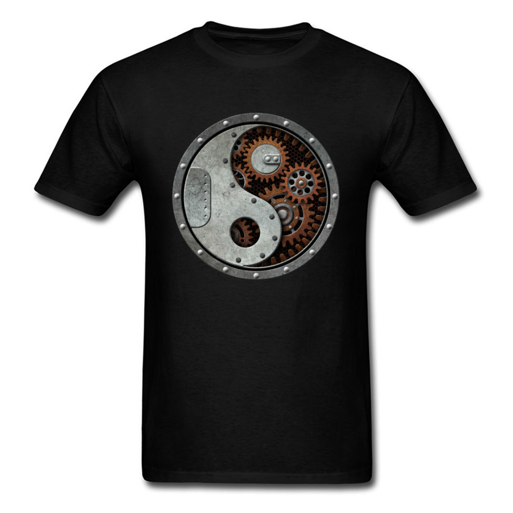 Lasting Charm Industrial Yin Yang T Shirt Men Black Sports T-shirt Punk Gears Hip Hop Shirts