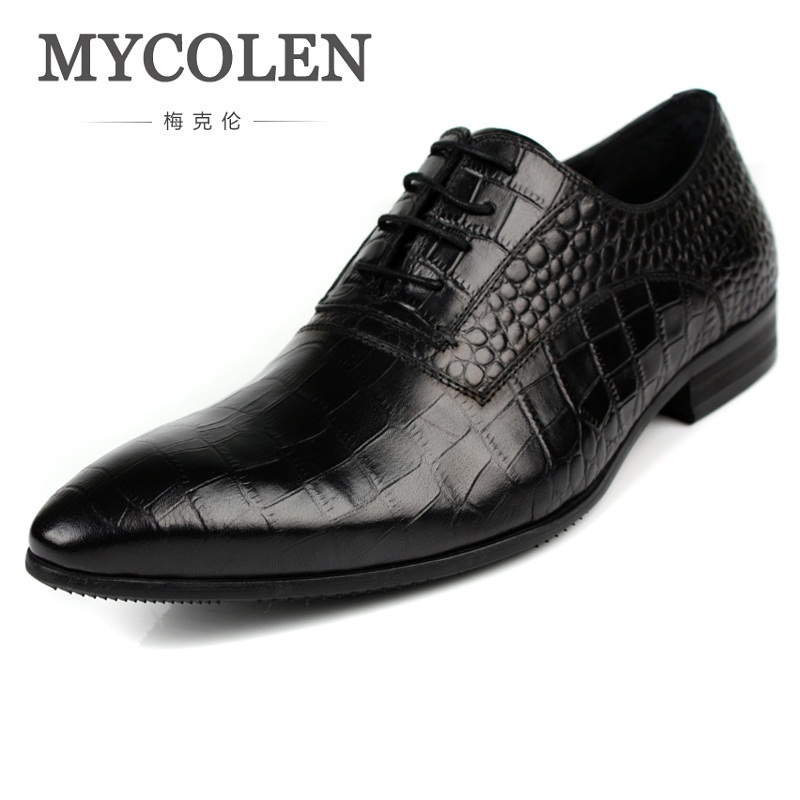 MYCOLEN Mens Business Crocodile Pattern Shoes Men Lace-Up Genuine Leather Pointed Toe Fashion Formal Shoes Chaussure Homme Luxe pjcmg new black red mens oxfords crocodile pattern lace up pointed toe genuine leather business formal men wedding office shoes