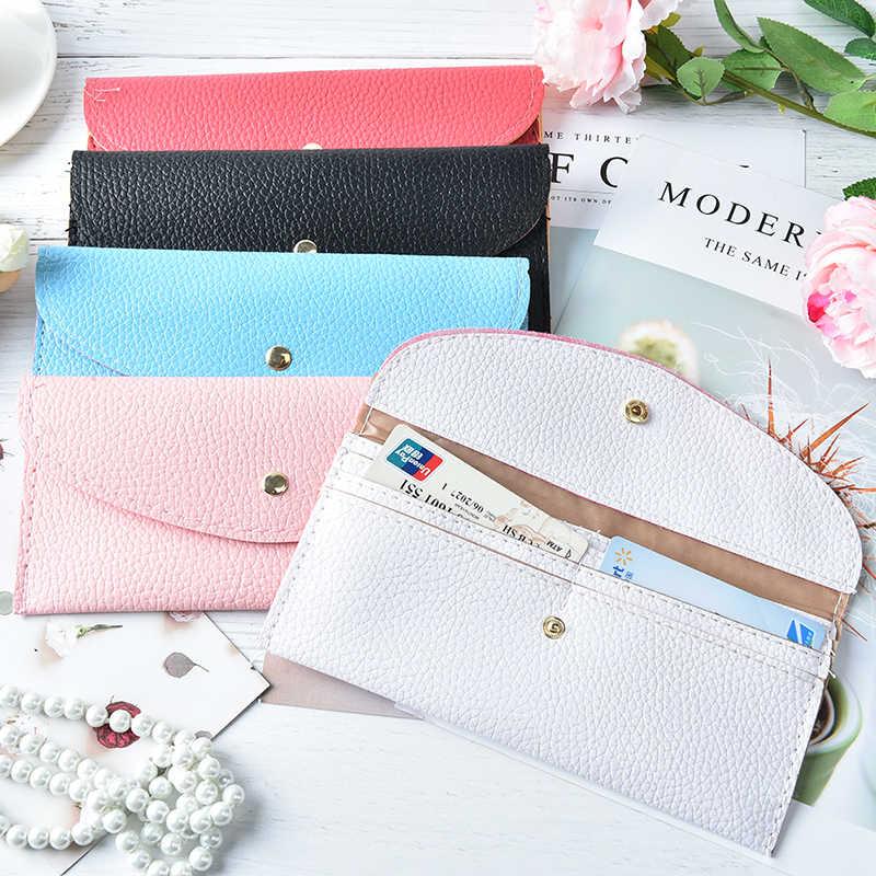 Mujeres largas carteras monederos Casual carteras de piel de señora Popular embrague bolsos carteras y monederos