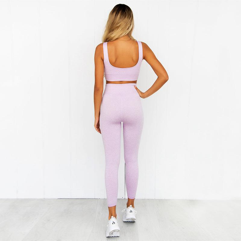 Women Two Piece Set Casual Seamless Tracksuits Cut Out Crop Top And Pencil Pants Sporty Active Wear Running Set Sports Clothing 4