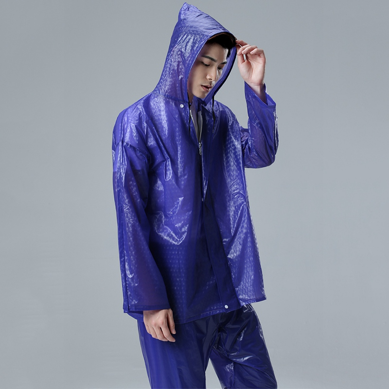 Raincoat Set Motorcycle Bicycle Rain Jacket Suit Waterproof Waterproof Suit for Fishing Rainwear Hooded Rain Coat Tops+Pants