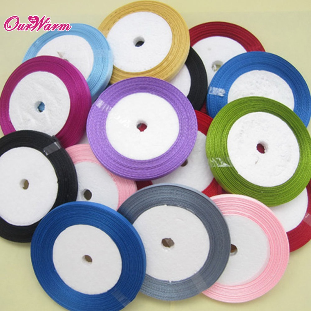 25 yards length ribbons high quality cheap decorative satin ribbon 6mm width for diy bow craft