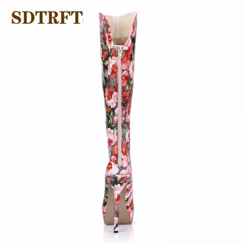 SDTRFT Stilettos 14cm thin heeled Motorcycle Knee-High boots platforms shoes Woman Zipper Botas Red Flowers pumps Plus:35-40