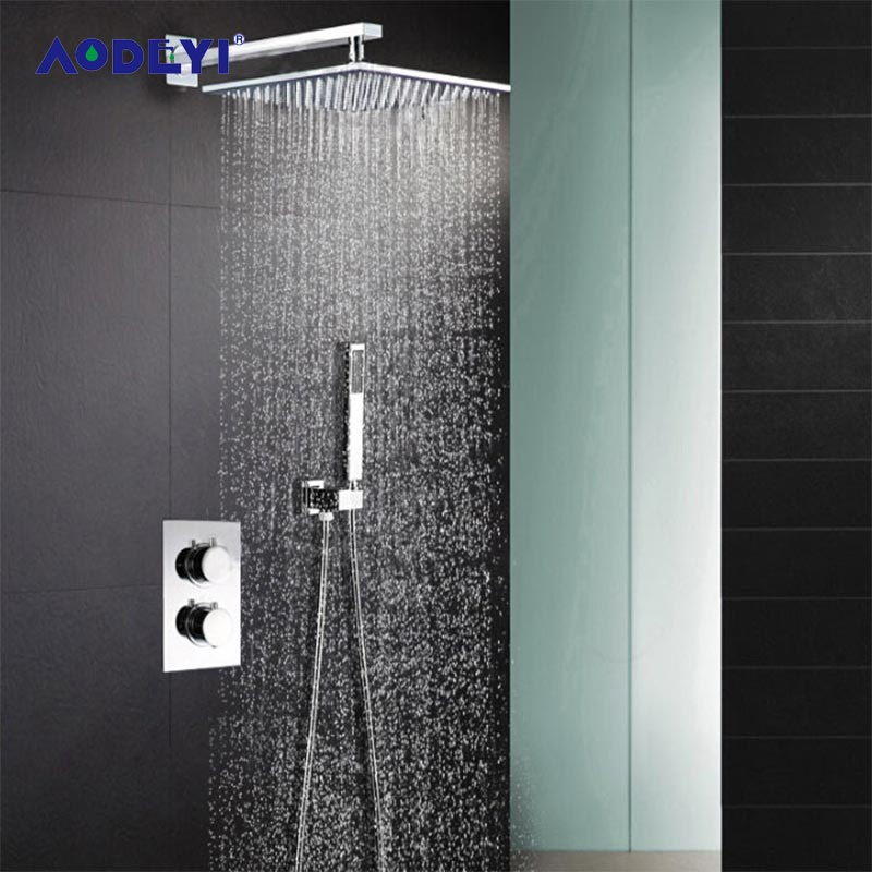 AODEYI Shower Head 304 Stainless Steel Square 8 Or 10 Or 12 Or 16 Rain Shower