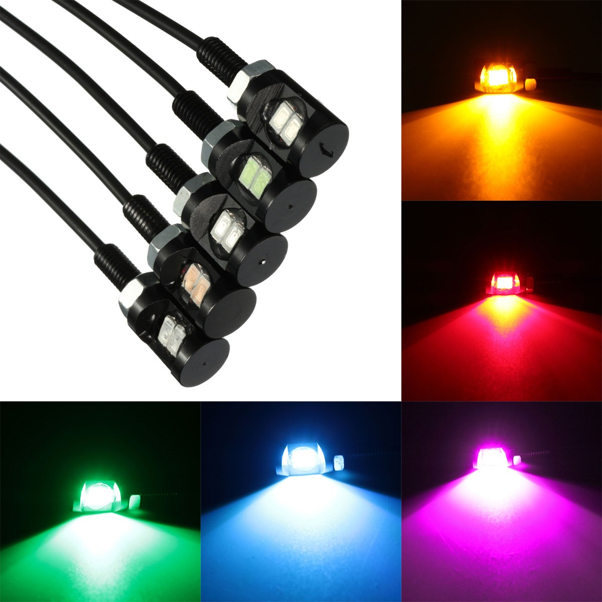 Safego Pair 12mm White LED License Plate Screw Blot Light For Motorcycle and Cars
