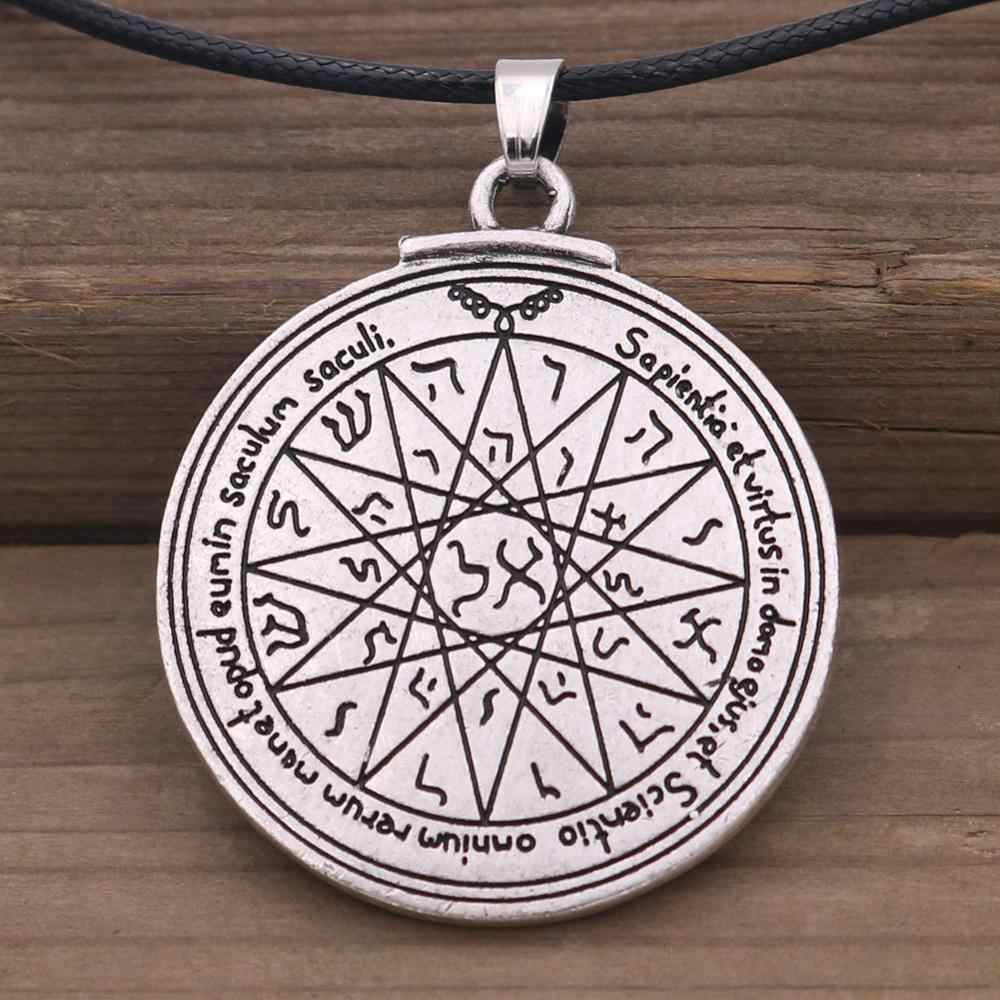 Dwustronnie klucz salomona czwarty pentagram Mercury Seal naszyjnik Wiccan Pagan amulety talizman Jewlery