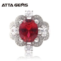 Ruby Sterling Silver Rings for Women Created Ruby 5.6 Carats Romantic Style Wedding Rings Top Quality Jewelry Luxury Rings