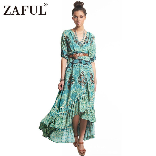 de0763de51c ZAFUL New Women UK Bohemian Summer Half Sleeve Vintage Floral Ethnic Print  V neck Irregular hem