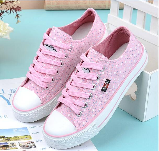 High Quality 2016 New Low High Lace Up font b Women b font Canvas Shoes Fashion