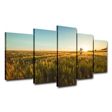 Canvas Painting HD Printed Poster For Living Room 5 Panel Wheat Field Sunshine View Wall Art Home Decor Frame Modern Pictures