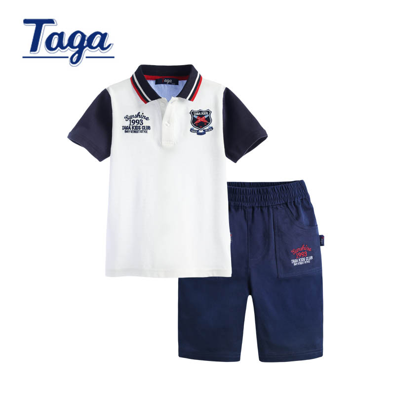 TAGA 2016 Boys Summer Polo Shirts Kids Cotton Clothing Sets baby boys tops + Pants 2pcs outerwear children clothing set gift