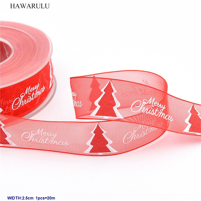 1pcs 2.5cm 20m DIY New Christmas stamp Merry snow Ribbon decorated with red foam tree festival gift