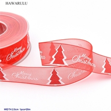 1pcs 2.5cm 20m DIY New Christmas stamp Merry Christmas snow Ribbon decorated with red foam Christmas tree festival gift snow bunny s christmas gift