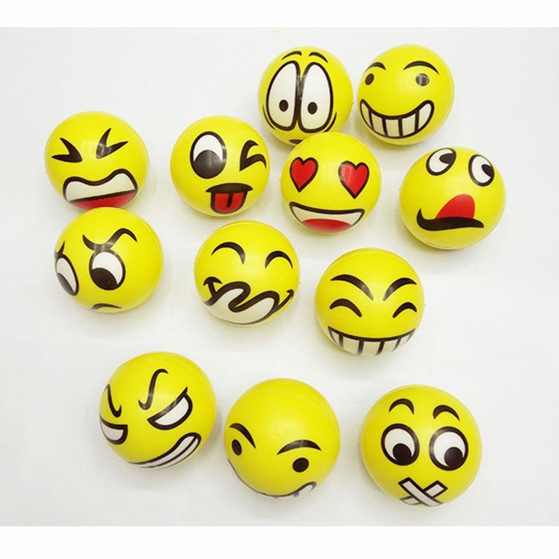 6pcs Yellow Fun Emoji Face Squeeze Balls Modern Stress Ball Relax Emotional Hand Wrist Exercise Stress