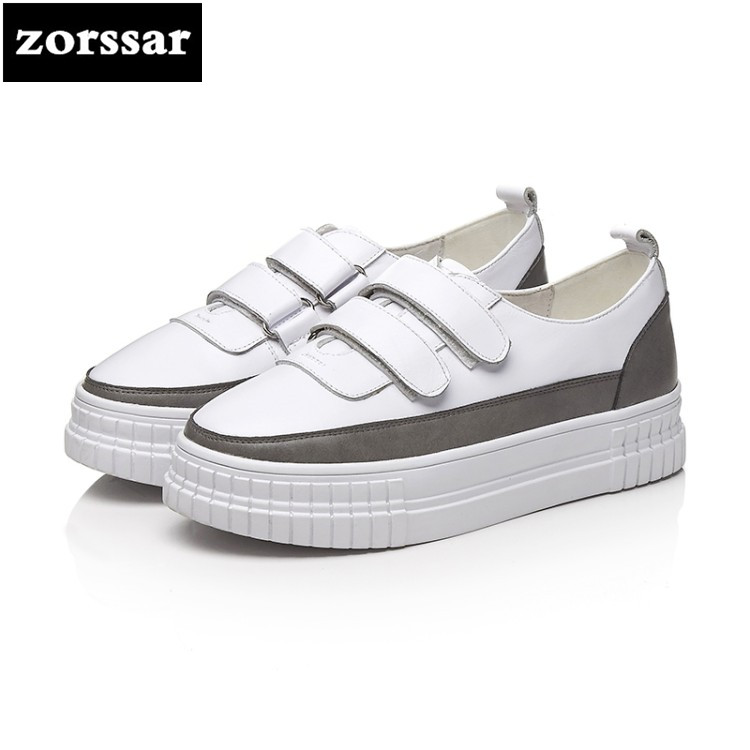 {Zorssar} 2018 Genuine Leather women sneakers Breathable Round Toe Casual Shoes Student Platform Shoes Flats Lace Up Ladies Shoe tfsland men women genuine leather loafers students white shoes unisex spring round toe lace up breathable walking shoes sneakers