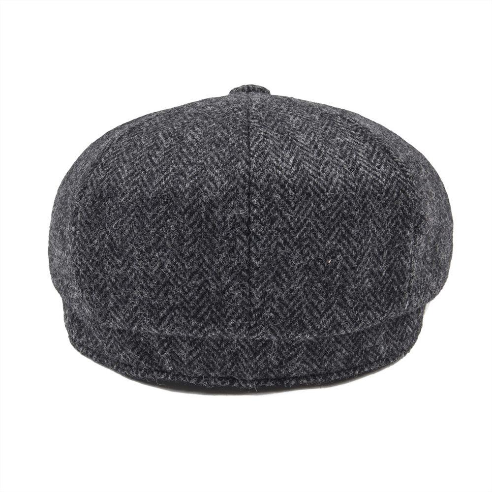JANGOUL Woollen Tweed Newsboy Cap Men Flat Cap Fall Winter Herringbone  Boina Gray Baker Boy Caps Cabbie Driver Dad Hat 004-in Newsboy Caps from  Apparel ... 0bc1bf9f289b