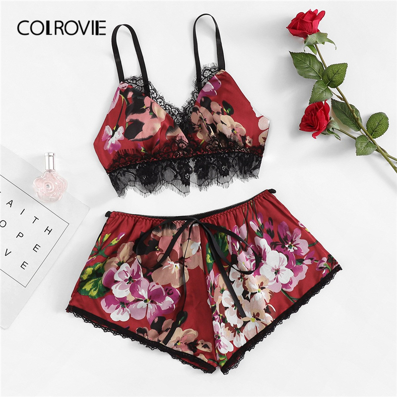 COLROVIE Lace Trim Floral Print Sexy Cami And Shorts   Pajama     Set   Women 2019 Lingerie   Set   Lounge Femme Sleepwear Satin Nightgown